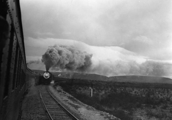 The Argonaut passenger trains meet in west Texas, circa 1929.