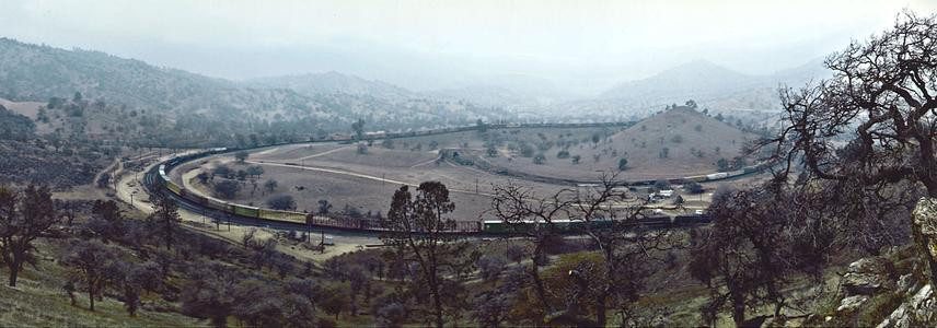 A panoramic view of the Tehachapi Loop looking NW.