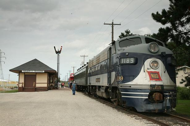 An EMD F7 at the Monticello Railway Museum, Monticello, Illinois, September 13, 2008. Photo by Daniel Schwen.
