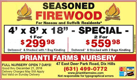 Prianti Firewood Delivery Seasoned Long Island Soil Bulk Mulch Delivery Special Sale