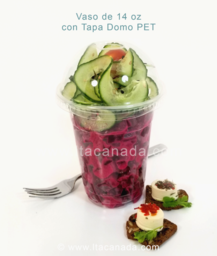 Vaso de 14 oz con domo PET, disponible en Bogota