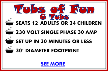 tubs of fun fair ride for rent 6 tubs details, seats 12 adults or 24 children, 230 volt single phase 30 amp, set up in 30 minutes or less, 30' diameter footprint, see more
