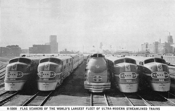 The Atchison, Topeka and Santa Fe Railway's Streamliner locomotives circa 1938. Fred Harvey postcard.