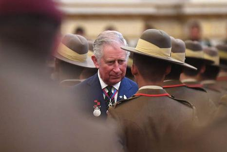 Gurkhas being inspected by Prince Charles