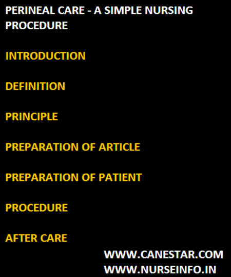 perineal care - nursing procedure