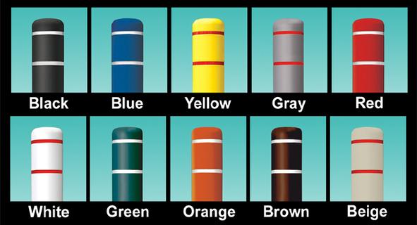 Bollard Sleeves come in vibrant colors