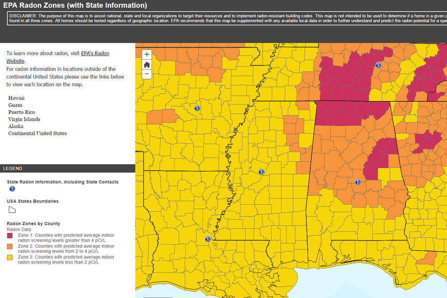 Radon Info - Radon us map
