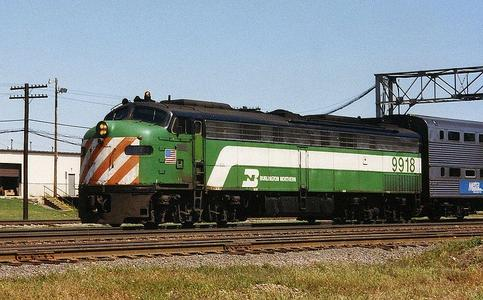 Burlington Northern (BN) No.9918 EMD E9 at Eola, Illinois, working on Metra's line to Aurora, September 1992.