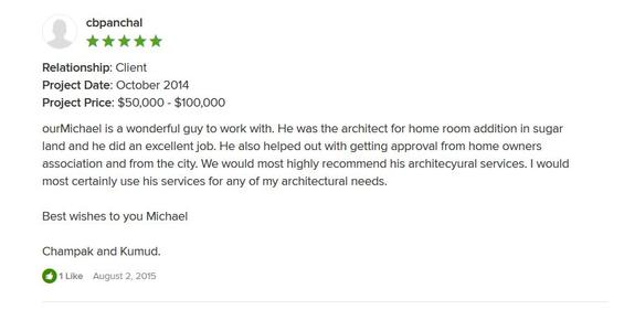 Mr. C Panchal Houzz 5 Star Review
