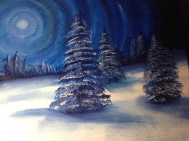 Winter Moon in oil done by cindy kennedy