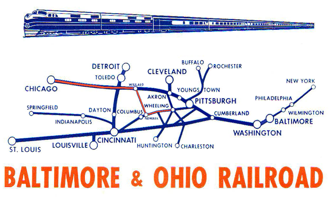 The route of the West Virginia Night Express in orange.
