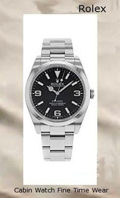 Rolex Explorer Black Dial Stainless Steel Rolex Oyster Automatic Mens Watch 214270BKASO​