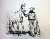 Whispering, graphite drawing of horse and cowboy by Lindy C Severns