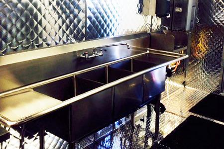 Constitution 53' Mobile Kitchen Trailer for Rent Cleaning Area