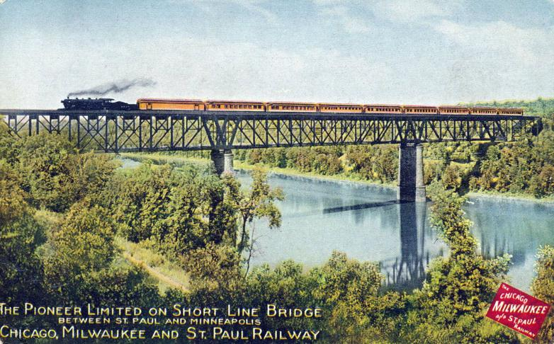 Postcard depiction of the Milwaukee Road train, the Pioneer Limited on the Short Line Bridge, ca. 1910.