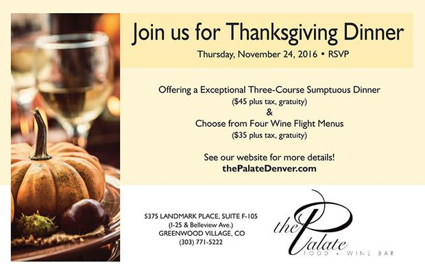 Thanksgiving Dinner at The Palate