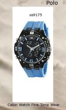 Product Specifications Watch Information Brand, Seller, or Collection Name U.S. Polo Assn. Model number US9175 Part Number US9175 Model Year 2014 Item Shape Round Dial window material type Glass Display Type Analog-Digital Clasp Buckle Case material Metal Case diameter 5.2 centimeters Case Thickness 11 millimeters Band Material Silicone Band length Mens-Standard Band width 22 millimeters Band Color Blue Dial color Black Bezel material Metal Bezel function Stationary Calendar Day, date, and month Movement Quartz