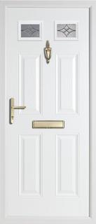 4 panel 2 square rebate composite door in white