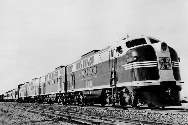 EMD F-unit locomotives were widely used in the early years of dieselization.