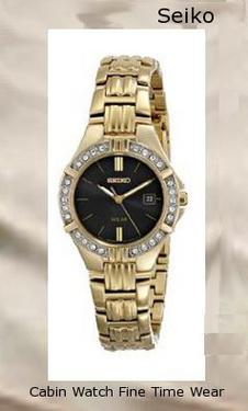Product specifications Watch Information Brand, Seller, or Collection Name Seiko Watches Model number SUT090 Part Number SUT090 Item Shape Round Dial window material type Hardlex Display Type Analog Clasp Push-Button Clasp Case material Stainless steel Case diameter 27 millimeters Case Thickness 7.05 millimeters Band Material Stainless steel Band length Women's Standard Band width 14 millimeters Band Color Gold Dial color Black Bezel material Stainless steel Bezel function Stationary Calendar Date Special features 99 Feet water depth, Women's Standard band length, Stainless steel band, warranty, Japanese quartz movement Movement Japanese quartz Water resistant depth 99 Feet,watch repair near me