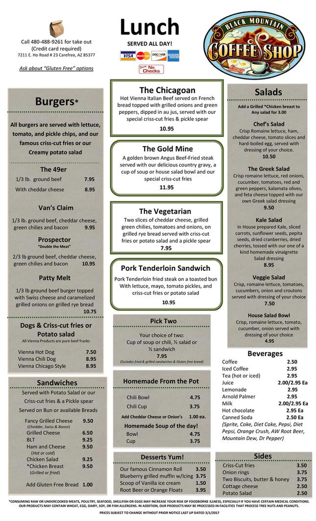 Lunch Menu, Salads, Diner, Black Mountain Coffee Shop, Restaurant, Carefree, AZ 85377 , 85331