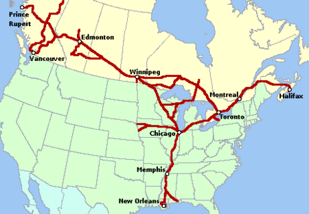 Canadian National Railway system map.