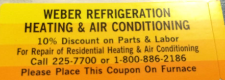 10% Discount Coupon Weber Refrigeration, Heating and Air Conditioning 11154 Kliesen St Dodge City, Ks
