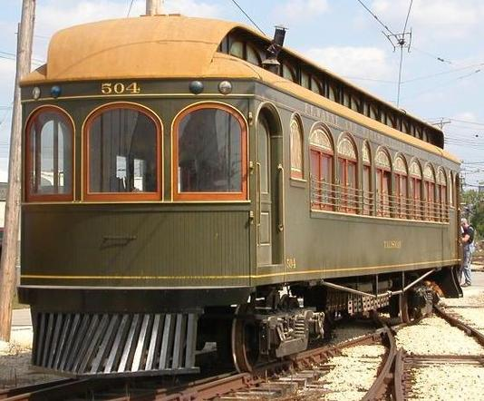 A pre-1910, all-wood heavy interurban car of the Fort Wayne & Wabash Valley Traction Company, preserved at the Illinois Railway Museum.