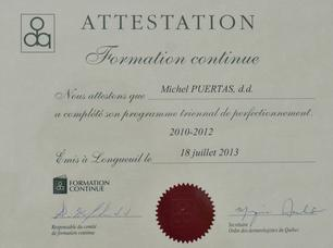 Diplôme Formation Continue Michel Puertas Denturologiste