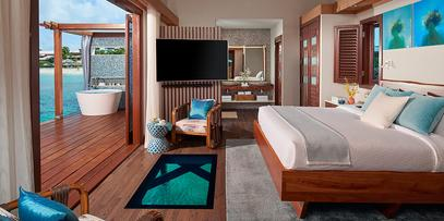 Sandals Grand St Lucia Over Water Bungalow Bedroom