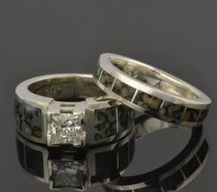 Dinosaur bone engagement ring and wedding ring bridal set.