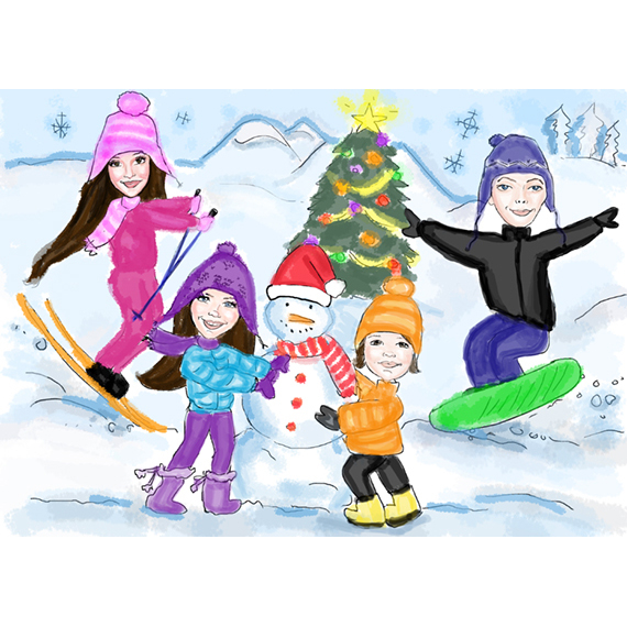 custom company caricature holiday cards corporate client birthday cards online contact us for pricing - Holiday Cards Online