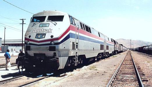 Amtrak P42DC No. 97 with the westbound California Zephyr at Sparks, Nevada, September 1998.