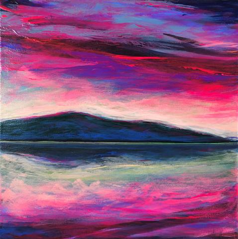 Island View (Lough Corrib) 2019. Acrylic paint on canvas, varnished. The Cornamona Collection. Pinks and blues of the Irish sky reflected on Lough Corrib by artist Orfhlaith Egan, Berlin and Cornamona.