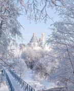 Moscow; Istra: Resurrection Cathedral distant view from the woods covered in snow