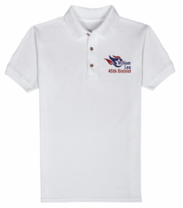William Lee 45th District embroidered logo Polo, white