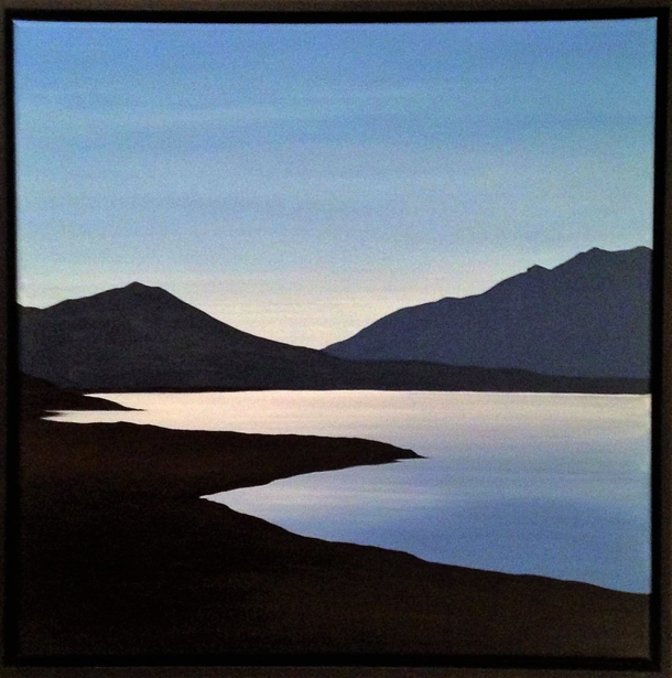 The Lake. 50x50cm. Re-imagined acrylic seascape painting by Irish artist Orfhlaith Egan. Berlin, Germany.