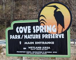 "Main entrance, Cove Spring Park. Go to ""Wetlands Area"" entrance & park"
