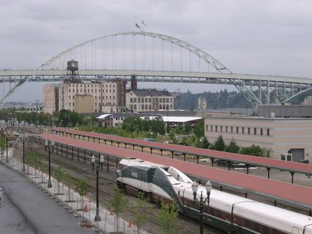 Amtrak Cascades consist in Portland, Oregon with NPCU at the head of the train.