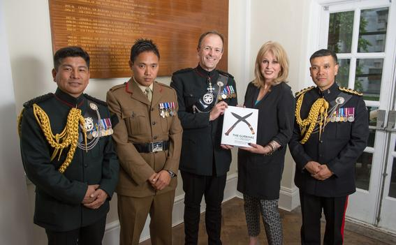 Craig Lawrence with Joanna Lumley at the launch of 'The Gurkhas: 200 Years of Service to the Crown'