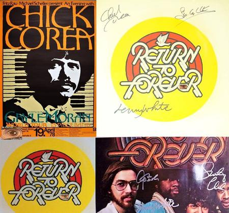 RETURN TO FOREVER; 'ROMANTIC WARRIOR' Signed by CHICK COREA, STANLEY CLARKE, LENNY WHITE1976 LP Art; WILSON McLEAN