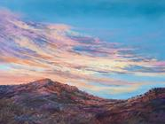 Sunset Paints the Texas Mountains, pastel landscape painting by Lindy C Severns, Fort Davis TX