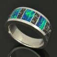 Dinosaur Bone Ring with Lab Created Opal