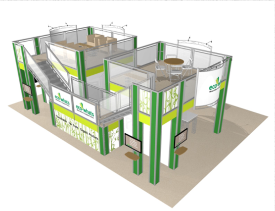 Eco-whats 30 x 40 double deck trade show booth exhibit top view.