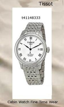 Watch Information Brand, Seller, or Collection Name Tissot Model number T41148333 Part Number T41148333 Model Year 2013 Item Shape Round Dial window material type Anti reflective sapphire Display Type Analog Clasp Deployment Clasp Metal stamp None Case material Stainless steel Case diameter 39 millimeters Case Thickness 10 millimeters Band Material Stainless steel Band length Men's Standard Band width 20 millimeters Band Color Silver Dial color White Bezel material Stainless steel Bezel function Stationary Calendar Date Item weight 4.32 Ounces Movement Swiss Automatic Water resistant depth 99 Feet