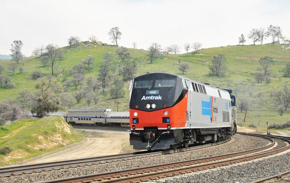 AMTK 156 in its retro paint scheme seen on the Tehachapi Loop with a Pacific Rail Society special bound for Bakersfield April 2nd, 2011.