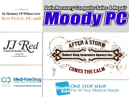 Moody PC, JJ Red Commercial Roofing, Medi-Fare Drug, South Side One Stop Shop, Robert King Insurance Agency