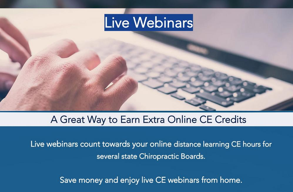Live Webinar online Chiropractic seminars CE continuing education Ohio chiropractor courses hours toledo cleveland cincinnati columbus oh