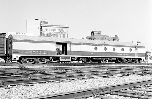 Texas & Pacific Baggage - Dormitory Car No. 303 at Dallas, Texas, August 28, 1958.