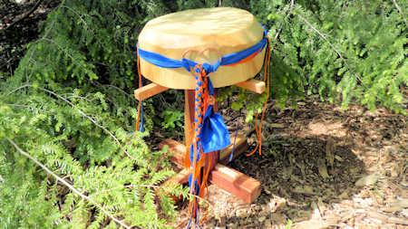 the wind horse drum ensemble in the Kentucky woods.